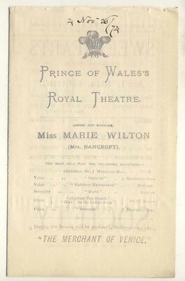 Prince of Wales's Theatre, London, Sweethearts by W S Gilbert, 1874, Programme