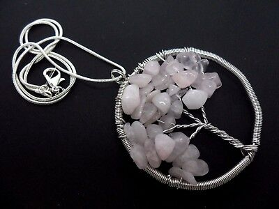 A Large Pink Jade Chips Silver Plated  Tree Of Life Themed Necklace. New.
