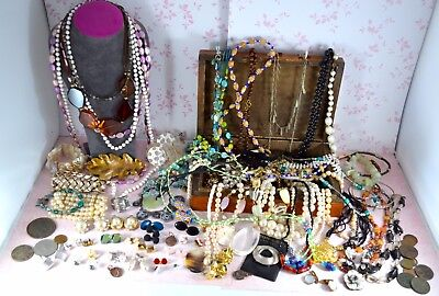 Large job lot of vintage & modern jewellery & coins - 70+ items