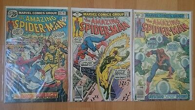 Mixed Collection Of 3  Amazing Spider-Man  Bronze-Age Comics  Cents  1976 - 1979