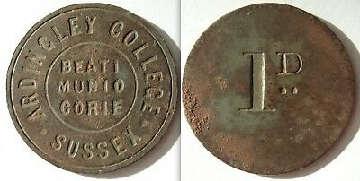 Collectable Ardingley College Sussex 1d. Token - Beati Munio Corie