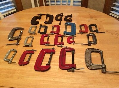 Lot Of 21 Vintage C Clamps Some Western Auto All Work