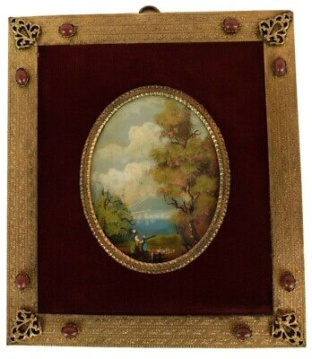 French Antique Miniature Oil Painting on Panel Landscape Signed Van Holt