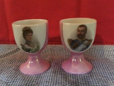 Two egg cups featuring HRH King Edward VII and Queen Alexandra