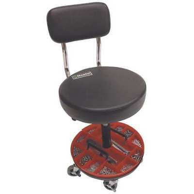 "Shopsol Round Stool with Backrest, Height 18-1/2"" to 22""Black, 1010277"