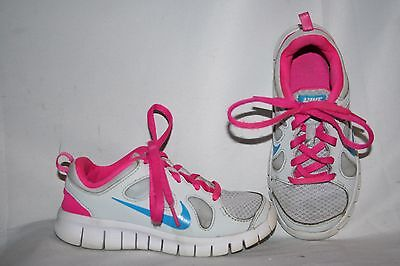Nike Free 5.0 Girls Sneakers Size 11 C Gray, Pink & White Tennis Shoes