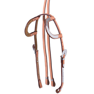 Western Show Light Tan Leather One / Two Ear Bridle & Split Reins COB or FULL