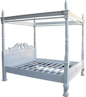 "4' 6"" DOUBLE Four Poster Canopy Bed Solid Mahogany Victorian White Paint"