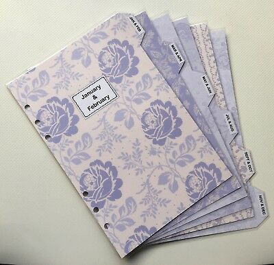 Filofax A5 Organiser Planner - Beautiful Lavender Monthly Dividers - Laminated