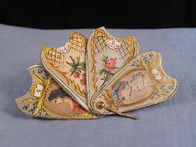 Antique Georgian Miniature Fan Sewing Needle Packet Case French Fashion Epoque