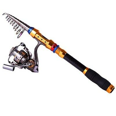 Telescopic Portable Fishing Pole Retractable Travel Spinning Rod 1.8m to 3m
