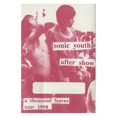 Sonic Youth authentic Aftershow 1998 tour Backstage Pass
