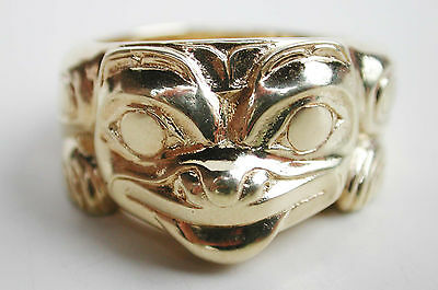 Size 8.5 BILL REID 18K Gold Grizzly Bear RING Northwest Coast Haida Indian Art