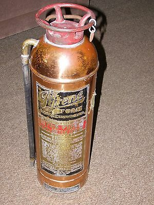 """Pyrene Used Empty Vintage Copper & Brass Fire Extinguisher 24"""" 21/2 Imp. Gallons"""
