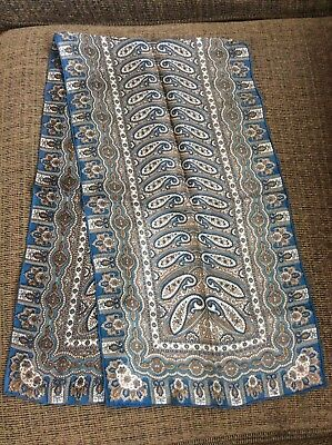 "Vtg Silk Scarf 100% Pure Hand Rolled Teal Blue Brown Paisley Pattern 38"" X 11"""