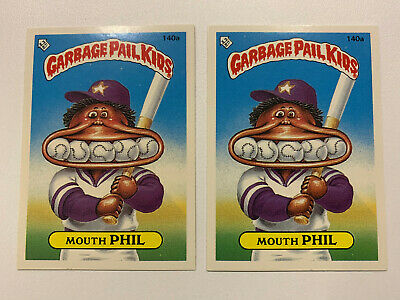 1987 UK Garbage Pail Kids 3rd Series 140a Mouth PHIL : VARIATION Cards