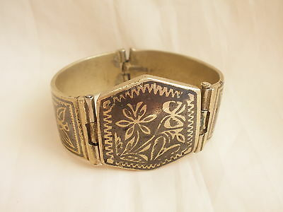 Antique Silver Alloy 19th c. Ottoman Lovely Old Persia Niello Nielo Islam Floral
