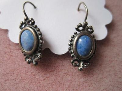 BELL Jewelry Turquoise Cab Silver ? Ornate Framed Small Dangly Earrings