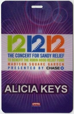 Alicia Keys authentic 12/12/12 Hurricane Sandy Concert Laminated Backstage Pass