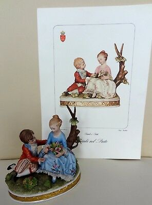 Capodimonte Figure Group of Boy and Girl with Certificate - Signed D.Bellaire