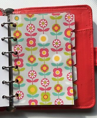 Filofax Pocket Organiser - Pretty Bright Colour & Patterned Dividers - Laminated