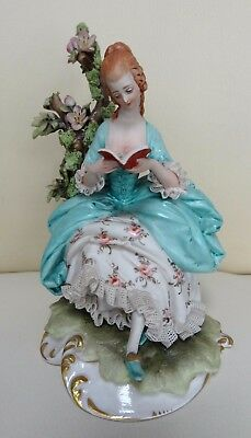 Cappe Capodimonte Lace Porcelain Figure of Lady Reading a Book