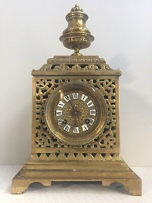 Antique French Brass Mantle Chiming Striking Clock w/ 8 Day Movement