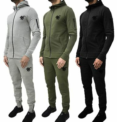 Mens Stylish 96 Tight Ankle Joggers Zip Designer Fleece Full Tracksuit Set S-XXL
