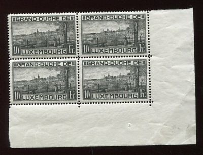 LUXEMBOURG 1923 10F Perf 12.5 MNH Corner BLOCK x4 Stamps