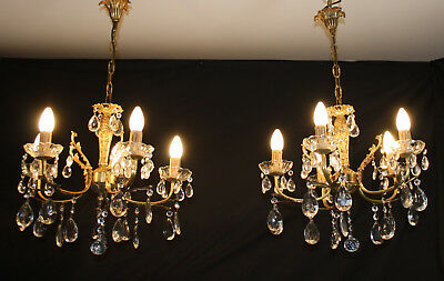 A VINTAGE PAIR OF CLASSIC FRENCH BRASS CHANDELIERS 5 ARM CEILING LIGHTS (oc12)