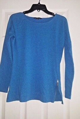 Armani Exchange Blue Long Sleeve Top Zippered Sides Size X-SMALL