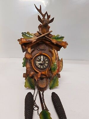 Stunning Miniature Vintage Cuckoo Clock 2 Weights