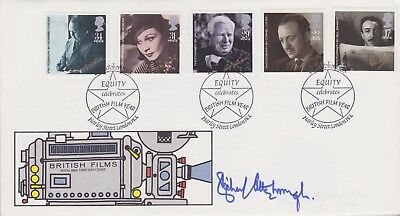 Gb Stamps 1985 Cinema First Day Cover Signed By Film Legend Richard Attenborough