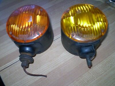 1940-50's CHEVY FORD MOPAR SIGNAL STAT DOUBLE RED AMBER SIGNAL LIGHTS PAIR