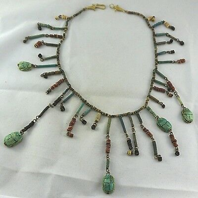 FANTASTIC Ancient Egyptian Excavated Mummy Faience Scarab Bead Bib Necklace