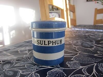 Genuine & Superb Cornishware T G Green 'sulphur' Caddy Cornish Ware