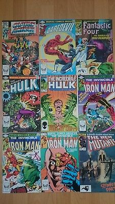 MIXED COLLECTION OF 9  MARVEL EARLY 1980s COMICS DAREDEVIL HULK  IRON-MAN ETC