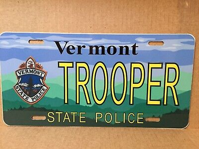 Vermont State Police Trooper Graphic License Plate - Maybe Anniversary Edition?