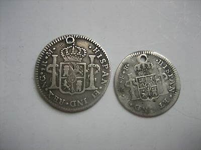 Mexico 18th Century Silver 1/2 Real & 1 Real. Pierced.