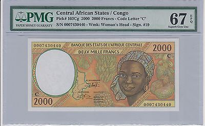 Central African State / Congo 2000 Francs Pick 103Cg PMG 67 Gem Unc