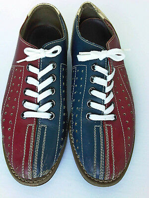 Vintage 80s Two Tone EB Bowling Shoes Red And Blue Leather, Rental size 5 or 6