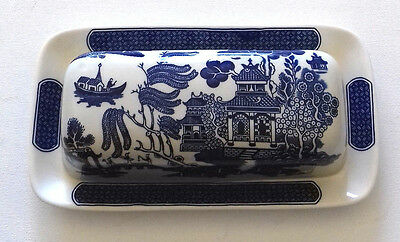 BUTTER DISH WILLOW PATTERN CHURCHILL England Dishwasher & Microwave proof VGC