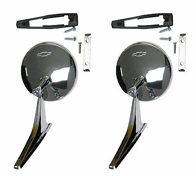 GM Round Side Rear View Mirror Outer Door w/ Bowtie Pair & Ribbed Base