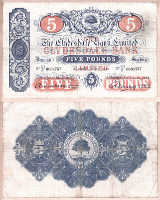 NO RESERVE AUCTION  1944 £5 Scotland The Clydesdale Bank Limited.