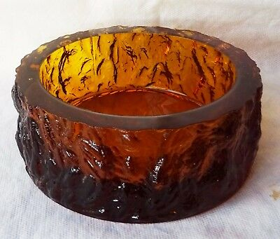 Whitefriars Glass ? 70's Golden Brown Textured Bark Dish