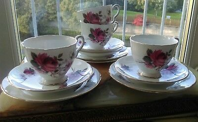 vintage English Bone China tea set cups Stafford Honey Bunch red Roses floral