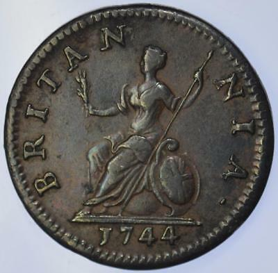 George II - 1744 Farthing - about EF high grade