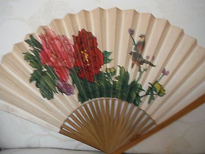Ladies Vintage Fan  2 Sided Design Paper & Bamboo Perfect Condition