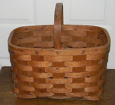 Large Antique Primitive Split Splint Oak Bent Wood Market / Gathering Basket
