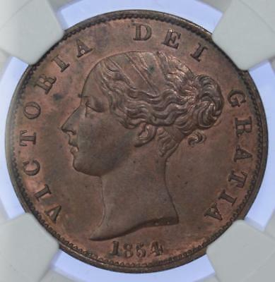 Queen Victoria - 1854 Half 1/2 Penny coin NGC MS63